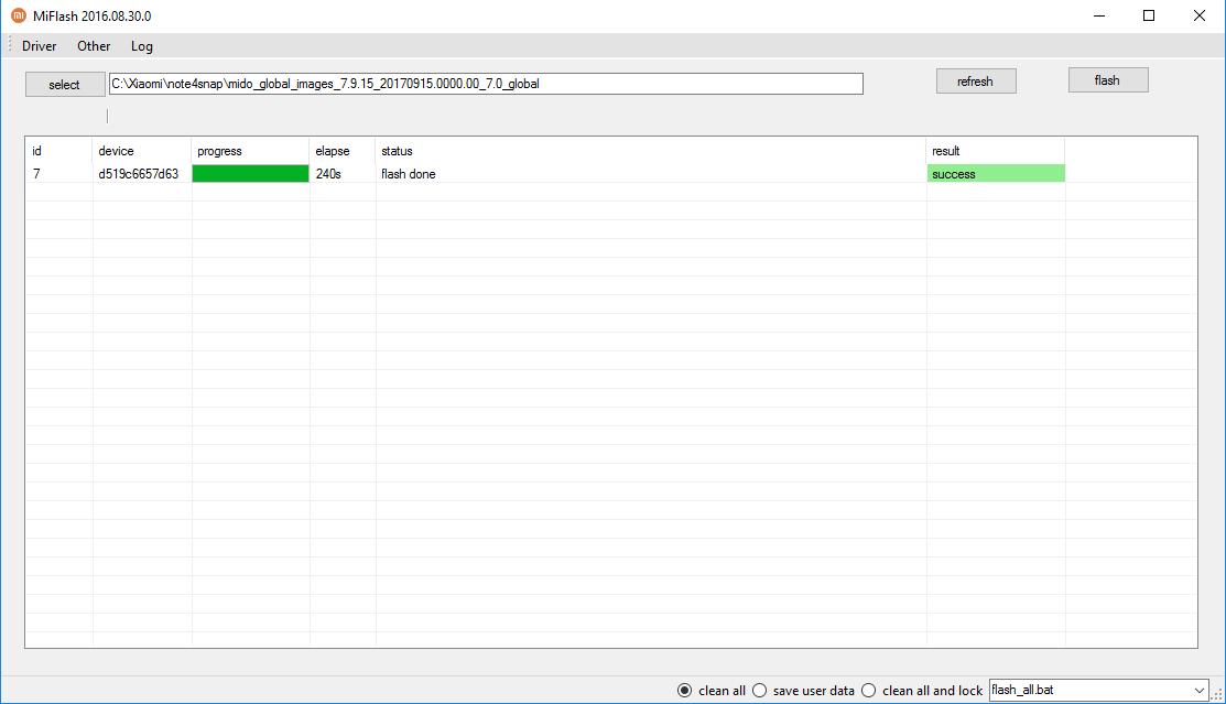 Poprawnie przeprowadzony proces Flash ROM