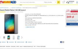Redmi Note 3 349 zł w Euro RTV AGD